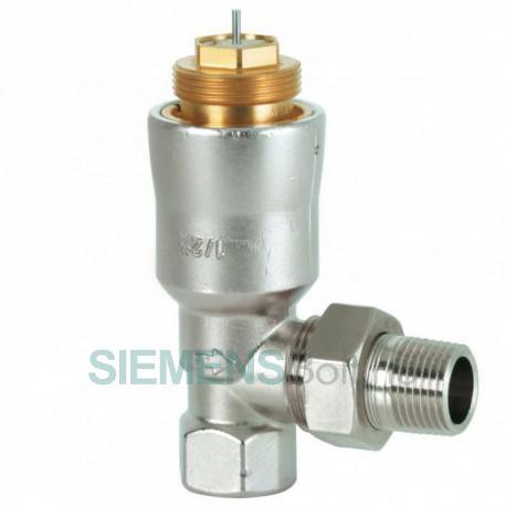 """Siemens VPE115A-45 Radiátorszelep nyomáskülönbség-szabályozóval egybeépítve. 1/2"""", sarok kivitel"""